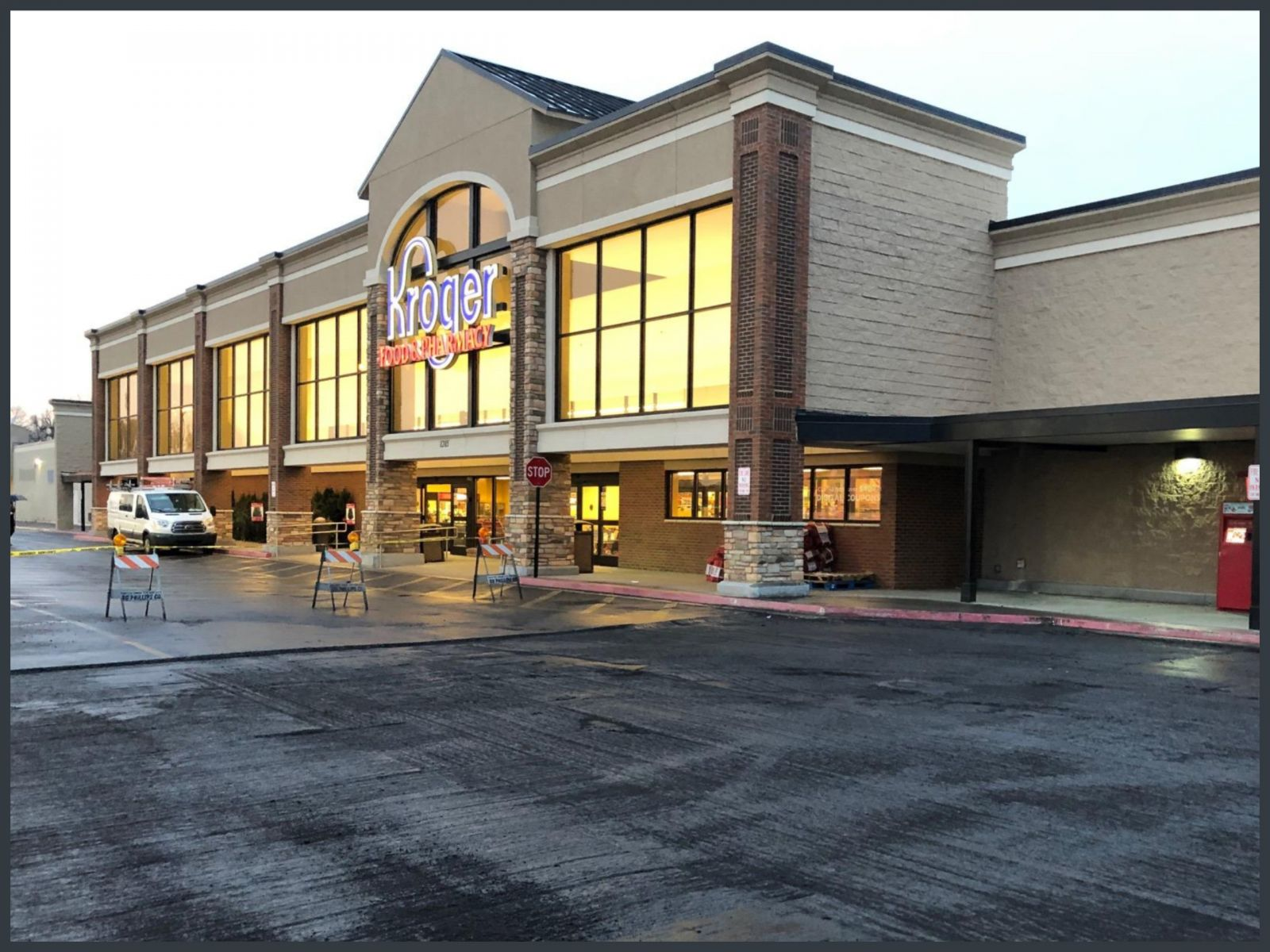 image of Kroger Store Tenant Improvement, facade enhancement, asphalt overlay, re-stripping, and signage