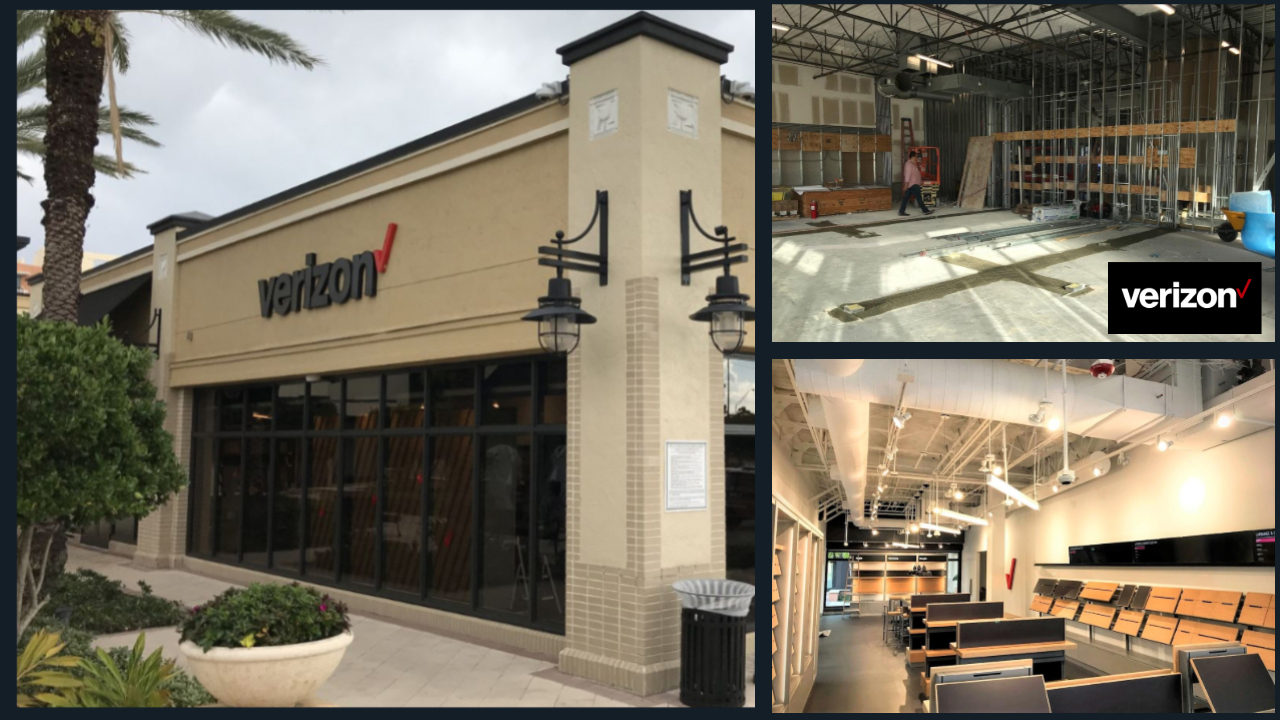 images of Verizon Wireless interior build out and facade renovation by TCG - Aventura, FL
