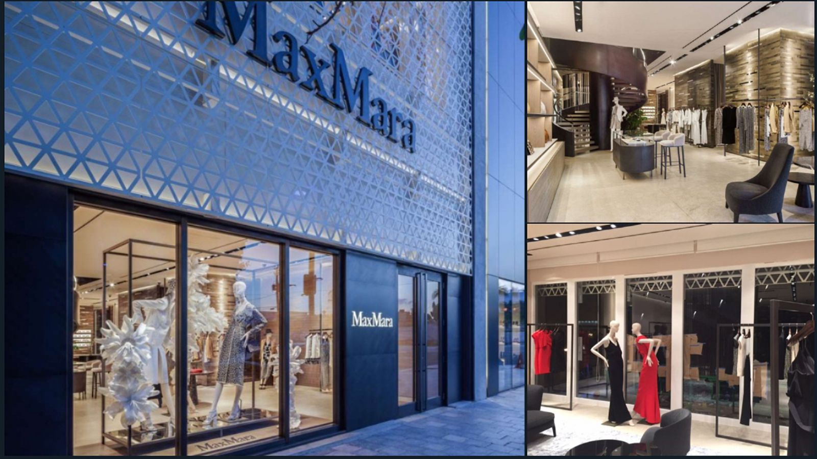 image of Interior and exterior build-out of a brand new shell in the new Miami Design District for MaxMara. Two story project plus additional structural steel supports below first floor of store in the parking garage for spiral stair system. Full turnkey project.