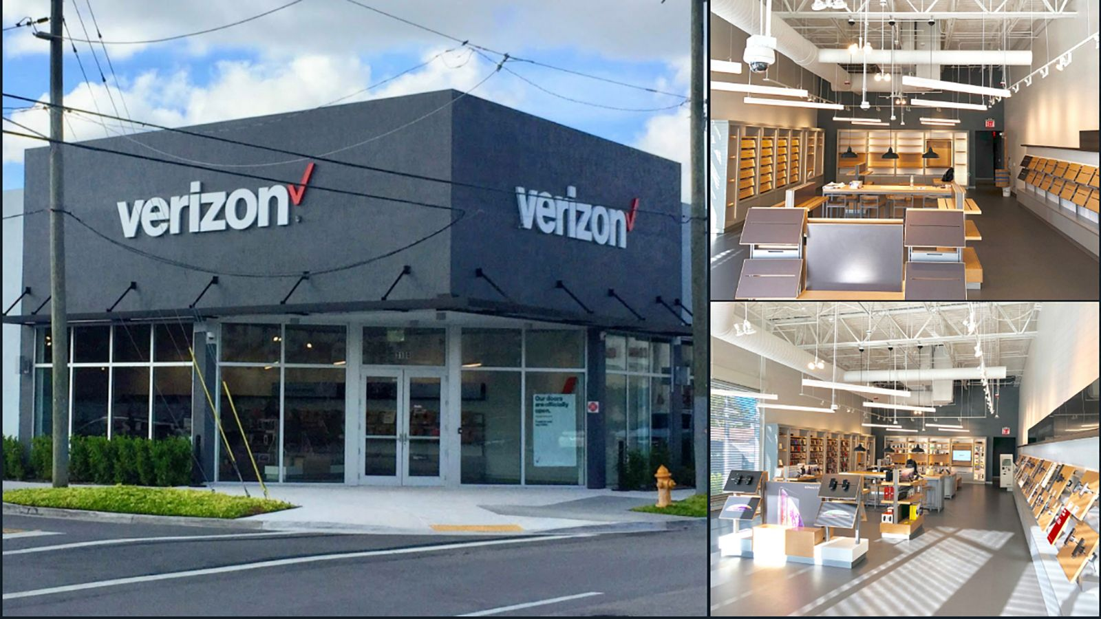 image of Verizon Store Interior Build-Out of new Verizon Wireless Retail Store in Midtown, Miami, Fl. Included all M/E/P, framing, drywall, ceiling, flooring, millwork and other specialty finishes
