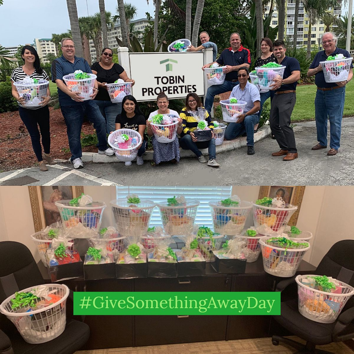Tobin Team participated in making hygiene baskets for the local family shelter on #GiveSomethingAwayDay 2019.