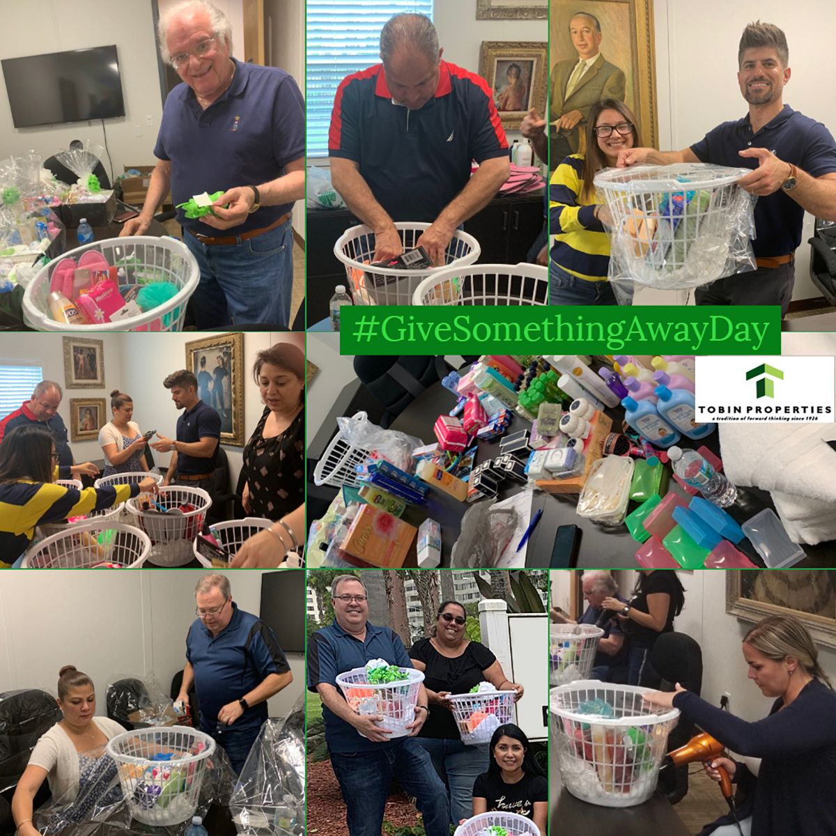 various images of Team Tobin sorting items and making baskets for community service.