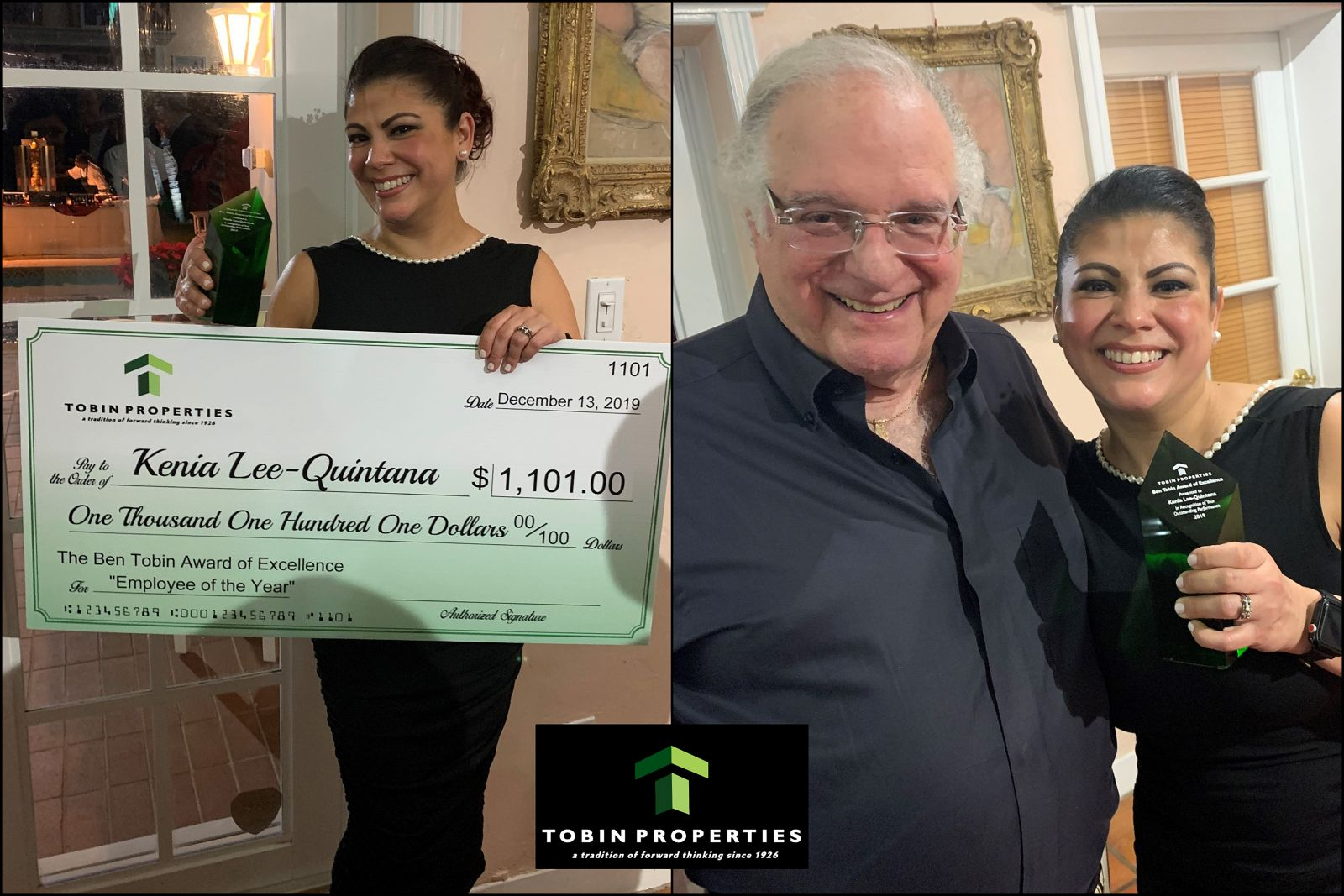 images of the recipient of employee of the year Kenia Quintana. Right side image of CEO and award recipient 2019