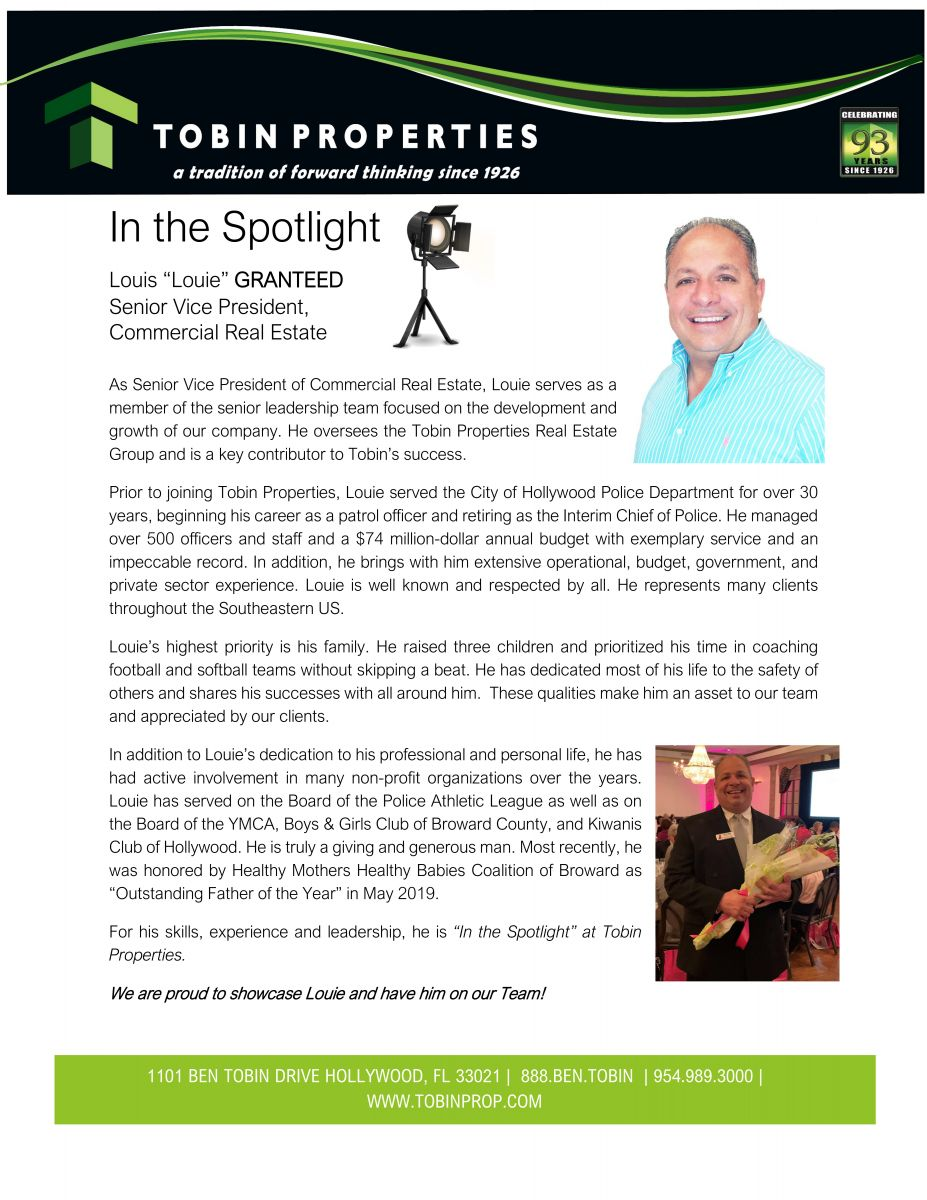 Image of Tobin Properties awards its employee spotlight to their VP of Commercial Real Estate.