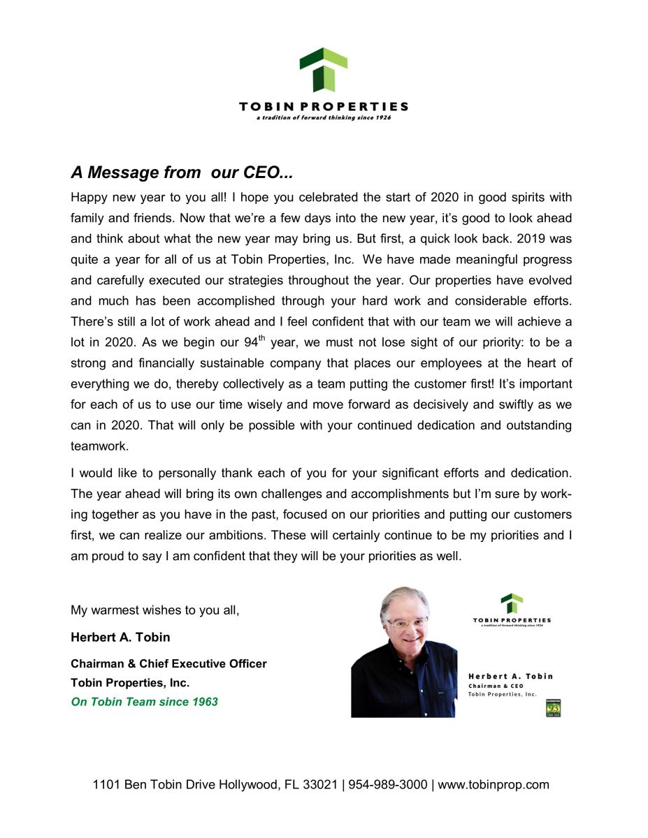 Letter image of Message from the company's CEO