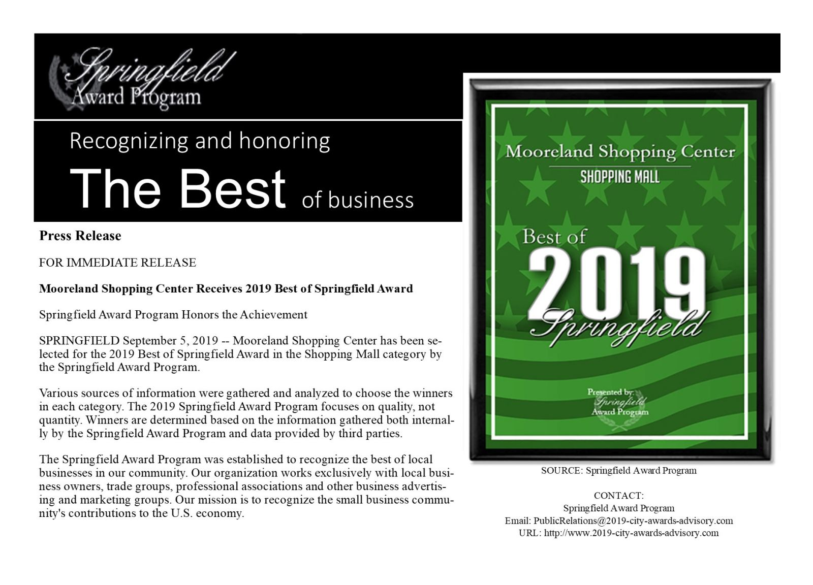 "image of Tobin Properties' own ""Mooreland Shopping Center receives Best of 2019 Springfield Award."" We are humbly honored to be awarded this recognition and will continue to focus our efforts to provide a positive contribution to the community and economy of Springfield, TN. This award is a realization of our company's mission and values, and it is just what we do best."