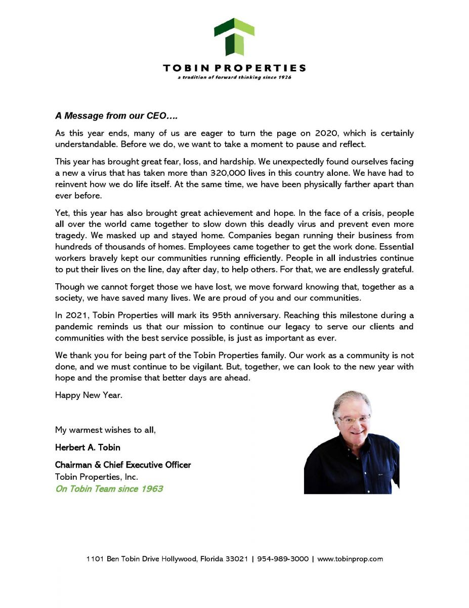 A letter from our CEO, Herbert Tobin as we start the new year. Happy 2021!