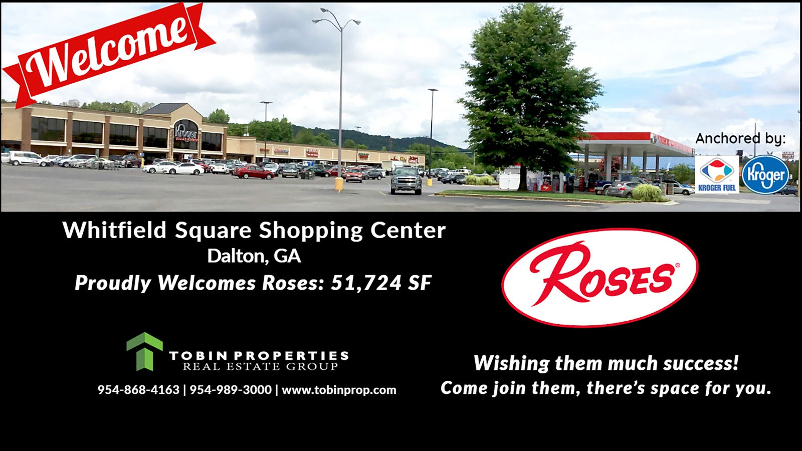 "Image of new tenant welcoming ""Roses"" at Whitfield Square Shopping Center."