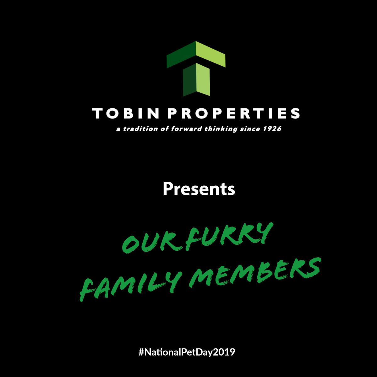 Video of Tobin Team furry babies in celebration of #NationalPetDay2019